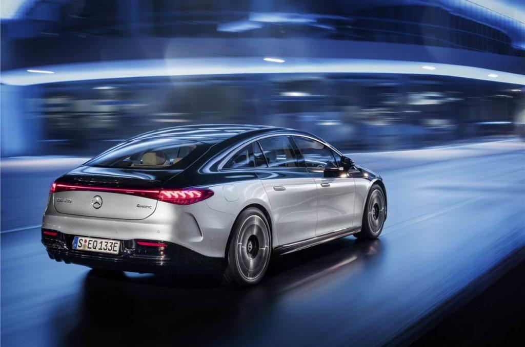 All-electric Mercedes-Benz EQS rear