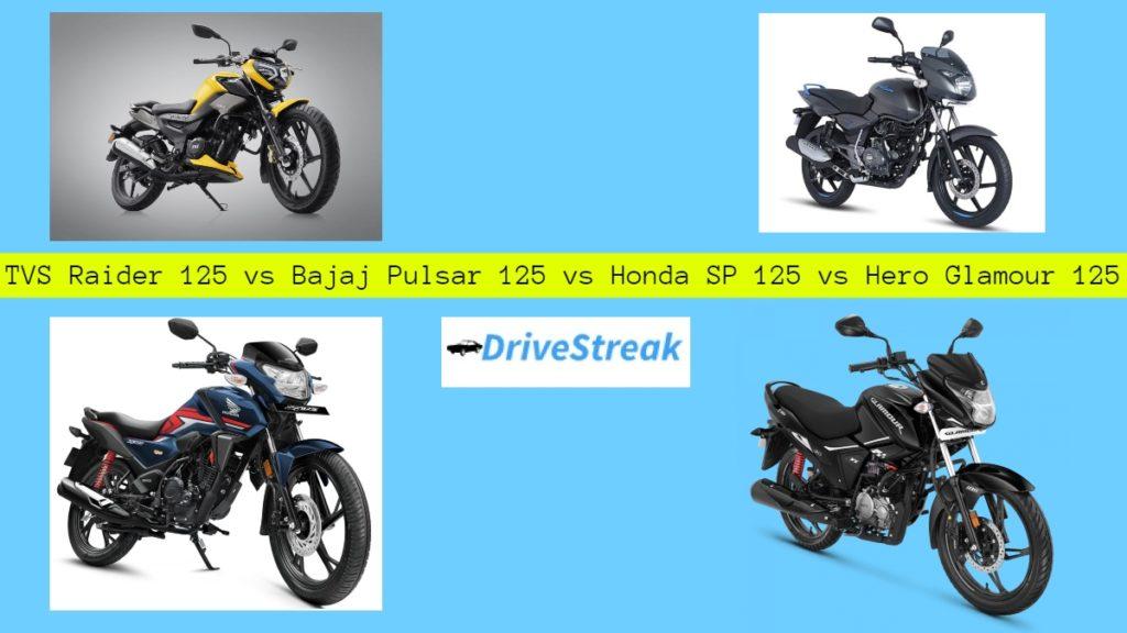 TVS Raider 125 vs Bajaj Pulsar 125 vs Honda SP 125 vs Hero Glamour 125